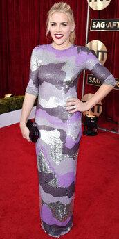 dress,busy philipps,purple,sequins,sequin dress,maxi dress,gown,prom dress,red carpet dress,sag awards