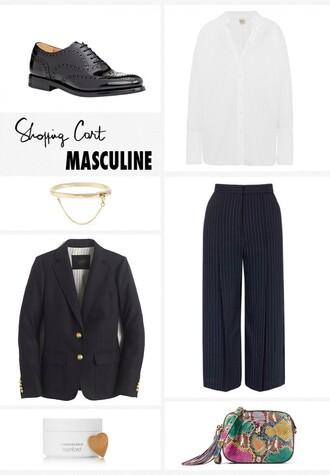 garance dore blogger boyish striped pants black blazer