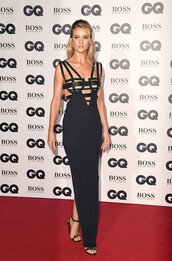 dress,rosie huntington-whiteley,black dress,sandals,bustier,red carpet dress