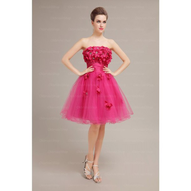 dress hot pink short prom dress