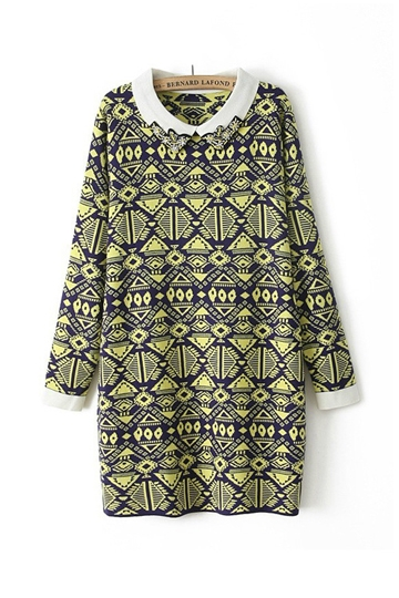 Geometric Patterns Printed Long Sweater [FKBJ10351]- US$ 39.99 - PersunMall.com