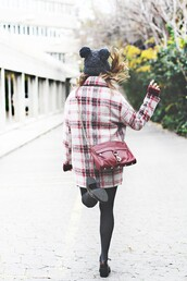 coat,tumblr,printed coat,tartan,plaid,tights,opaque tights,shoes,black shoes,beanie,pom pom beanie,black beanie,bag,red bag,chain bag,crossbody bag,cold weather outfit,winter outfits
