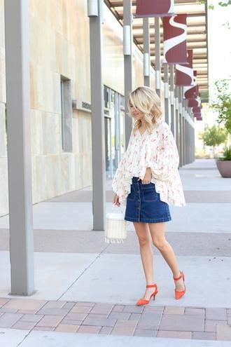 skirt mini skirt denim skirt a-line skirt pumps blouse oversized blouse summer basket blogger blogger style