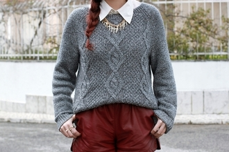 sweater grey cable knit collar tips burgundy shorts gold braid grey cable knit sweater grey sweater leather shorts red shorts necklace cross