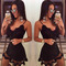 Nightclub lace black deep v-neck slim mini dress