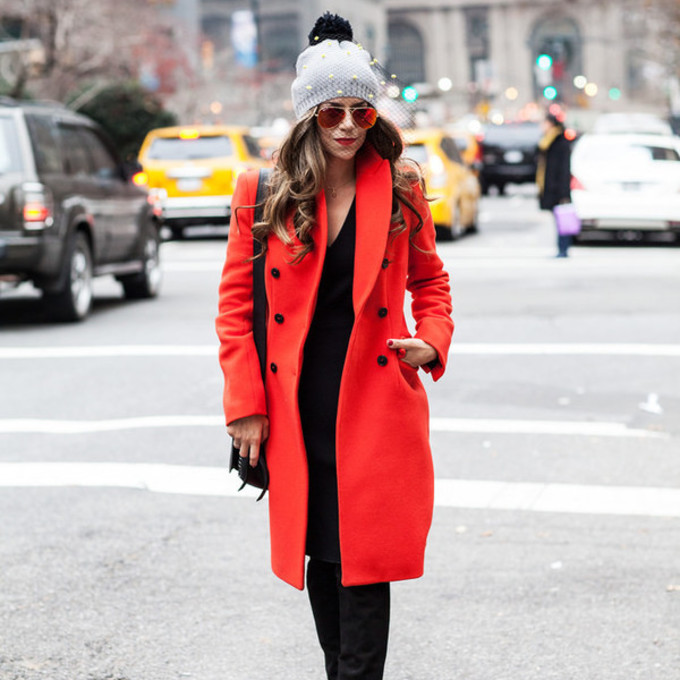 scarf sunglasses shoes coat bag dress hat blogger red coat the corporate catwalk pom pom beanie pearl scarf red
