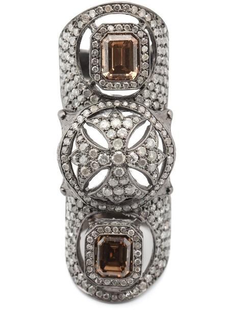 Loree Rodkin diamond ring cross metallic women ring jewels