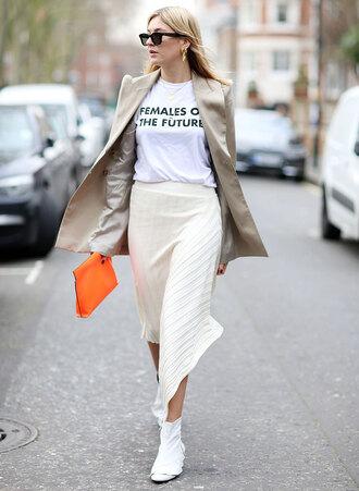 skirt camille charriere blogger asymmetrical asymmetrical skirt midi skirt white skirt boots white boots t-shirt white t-shirt coat bag pouch sunglasses
