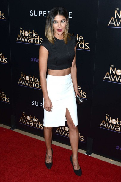 skirt crop tops jessica szohr black and white