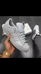 shoes,grey,adidas,adidas shoes,gray adidas,blue,adidas superstars,leather,grey sneakers,low top sneakers,adidas supercolor