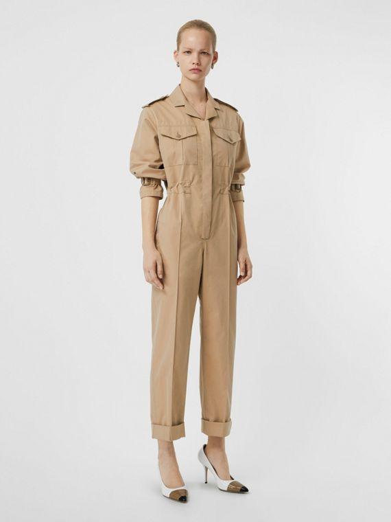Cotton Gabardine Jumpsuit in Honey - Women | Burberry United States
