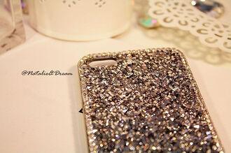 phone cover cover rhinestone rhinestones silver grey