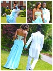 dress,rhinestones,strapless,side out,sky blue