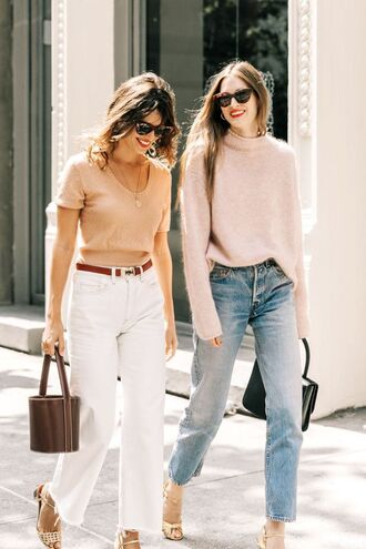 jeans white jeans belt top nude top bag blue jeans sweater pink sweater sunglasses