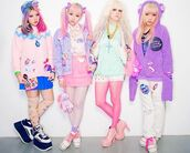 shoes,cats,cat shirt,tights,ice cream,socks,shorts,wig,hair dye,ombre,pink,white,platform shoes,jacket,bear jacket,fluffy,soft,purple,cross,jewelry,fairy kei,kawaii,bows,bow,sweater,skirt,lolita wig