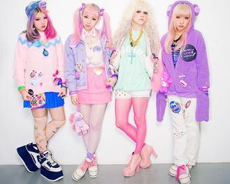 shoes cats cat shirt tights ice cream socks shorts wig hair dye ombre pink white platform shoes jacket bear jacket fluffy soft purple cross jewelry fairy kei kawaii bows bow sweater skirt lolita wig
