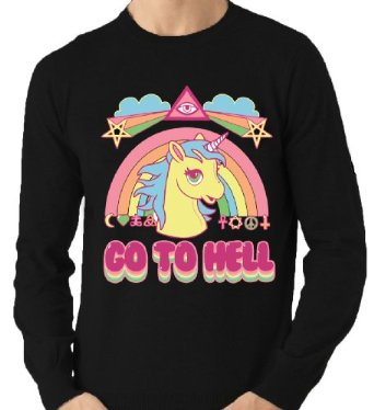 GO TO HELL MY LITTLE PONY PARODY BLACK JUMPER £14.99 LL13: Amazon.co.uk: Clothing