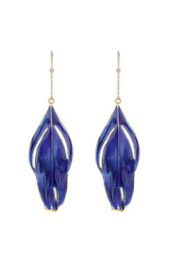 earrings feather earrings gold blue jewels