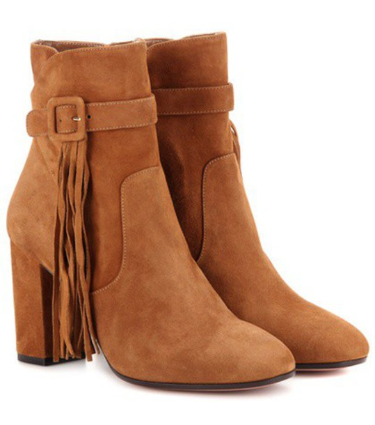 Aquazzura Christina 85 Suede Ankle Boots in brown