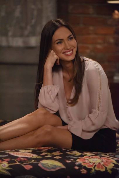 shirt nude shirt new girl megan fox celebrity actress tv show skirt mini skirt black skirt long sleeves