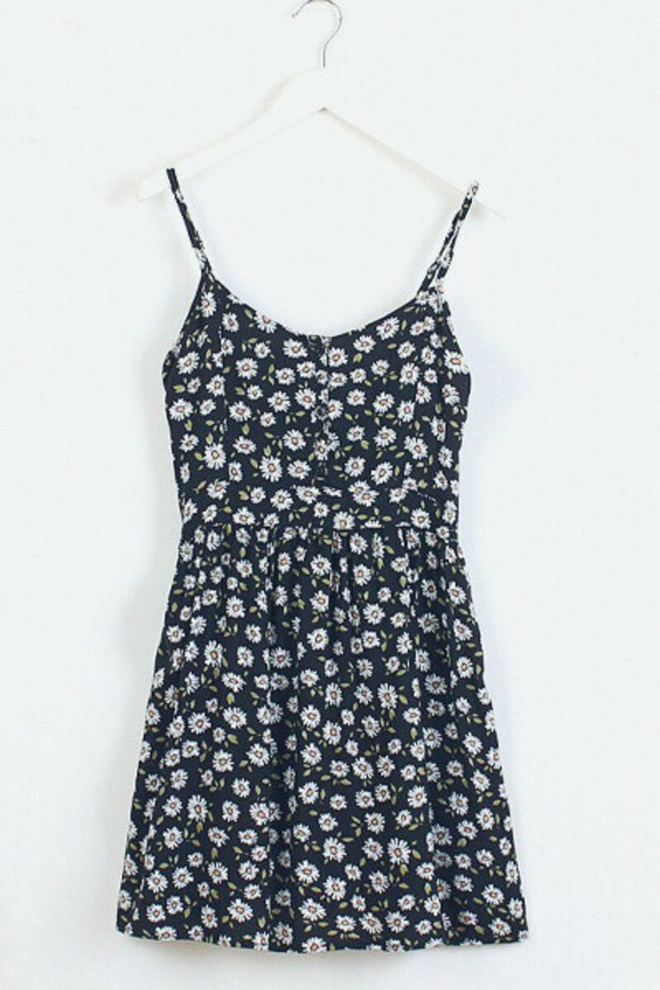 dress black daisy sundress sun daisy print
