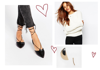 zanita blogger flats pointed toe white sweater