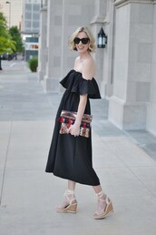 straight a style,blogger,dress,sunglasses,jewels,off the shoulder,black dress,clutch,colorful,wedges,lace up heels,black off shoulder dress,black off the shoulder dress,ruffle,ruffle dress,midi dress,black sunglasses,printed clutch,tassel,sandals,wedge sandals