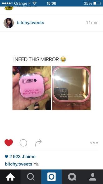 make-up mirror cute pretty pink princess queen