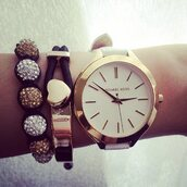 jewels,michael kors,cute,gold,yellow,black,silver,luxury,quality,high quality,watch,jewelry,bracelets,wrist,three,three bracelets