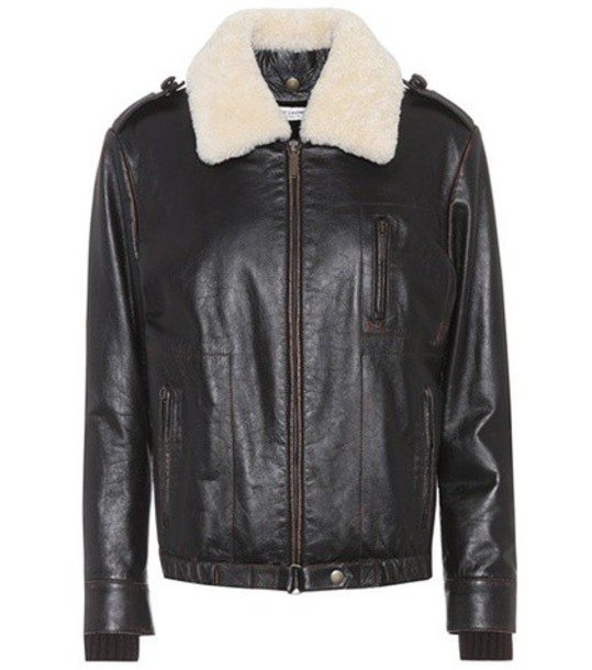 Saint Laurent Shearling-trimmed leather jacket in brown