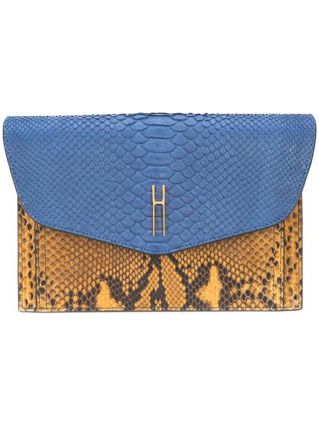 Hayward women python clutch blue suede bag