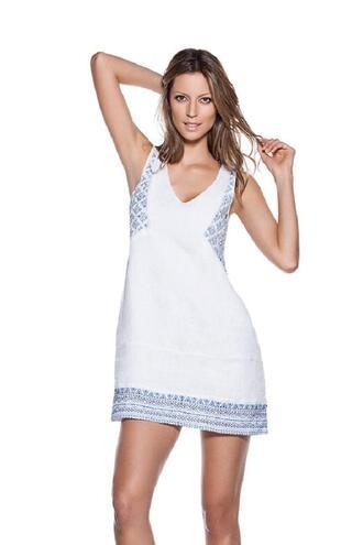 dress short linen dress cotton lined hand embroidered ondademar