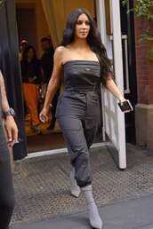 jumpsuit,kim kardashian,kardashians,pants,top,strapless,celebrity