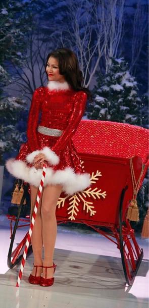 Dress Santa Red Sparkle Glitter Christmas Dress Mrs