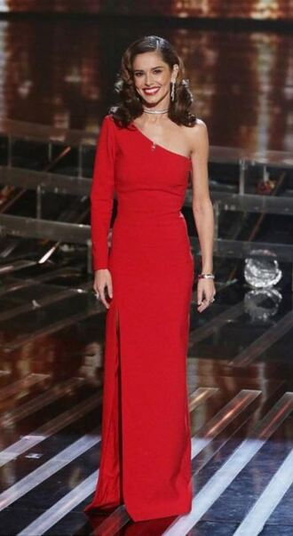 dress one shoulder asymmetrical dress cheryl cole red dress gown slit dress