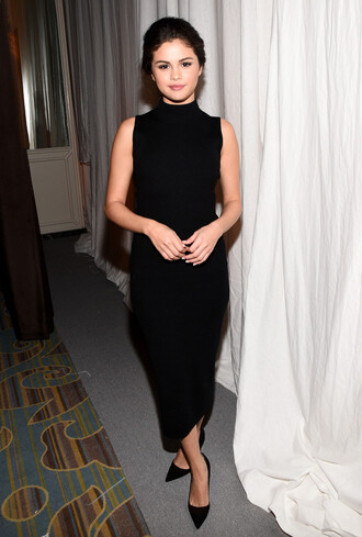 dress selena gomez black bodycon dress shoes