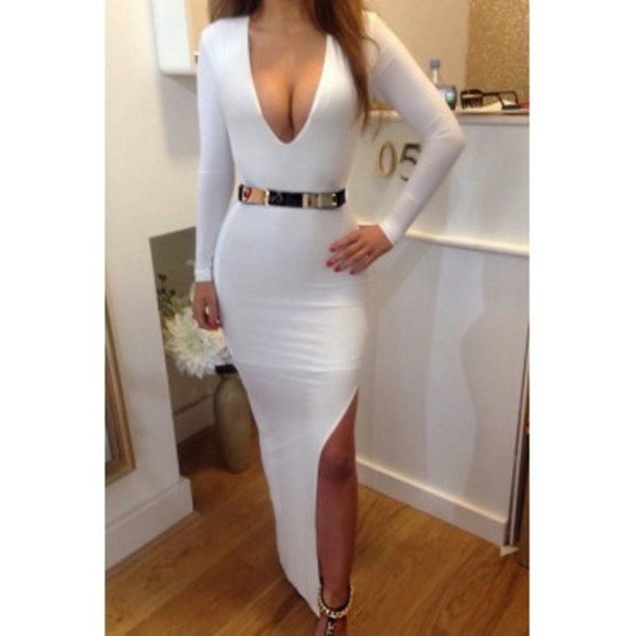 v-neck white bodycon dress v neck dress V-neck dress bodycon white dress white bodycon deep v neck dress deep v neck deep v-neck dress deep v-neck maxi dress white maxi dress bodycon maxi slit dress slit vneck dress