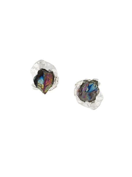 Niza Huang women earrings stud earrings silver grey metallic jewels