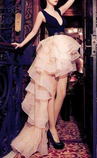 dress glitter blcak glitter dress pink black long beautiful high heels layers high-low dresses layered assimetrical