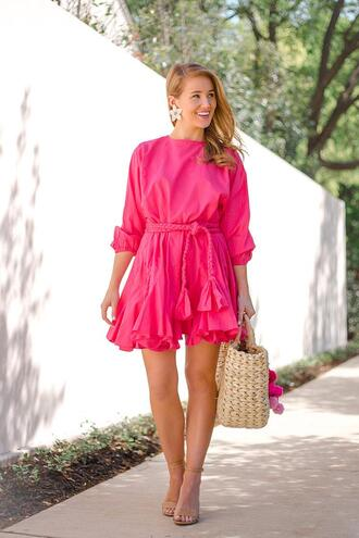 a lonestar state of southern blogger dress shoes bag jewels basket bag straw bag pink dress spring outfits sandals