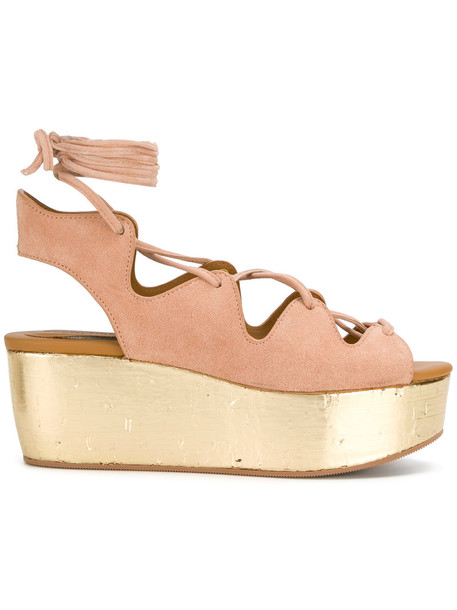 See by Chloe women sandals wedge sandals leather nude suede shoes