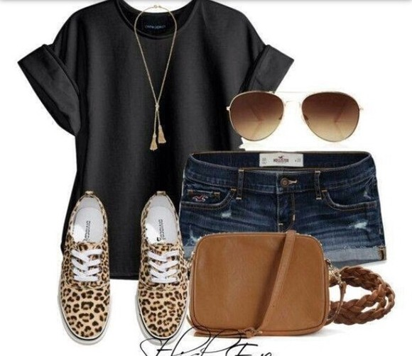 shorts denim t-shirt black sunglasses necklace bag hollister