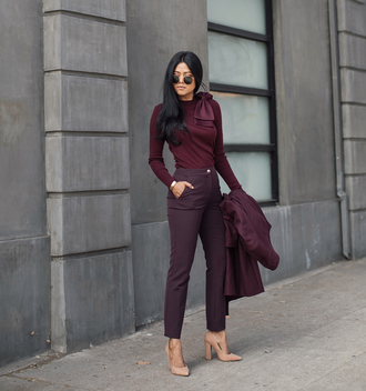 pants top ted baker burgundy burgundy pants burgundy top pointed toe pumps high heel pumps pumps sunglasses aviator sunglasses
