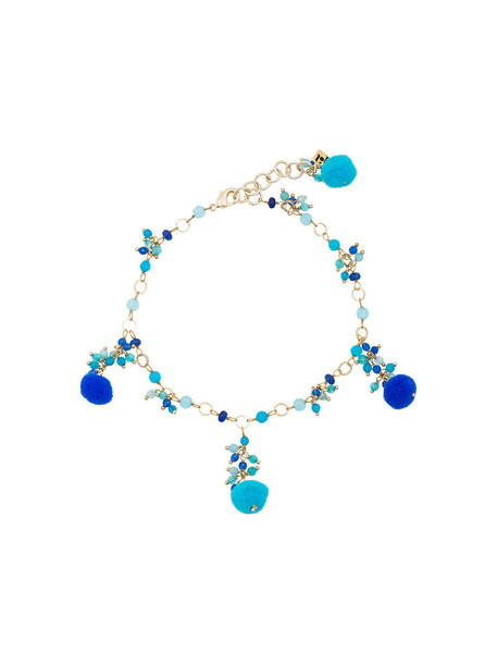 women beaded anklet blue jewels