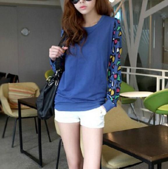 leopard print blue sweatshirt cool top long sleeves