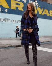 coat,boots,rocky barnes,instagram,blogger,fall outfits,plaid,wool coat,checkered,knee high boots,black boots,crossbody bag,mini bag,black jeans,black blouse,v neck