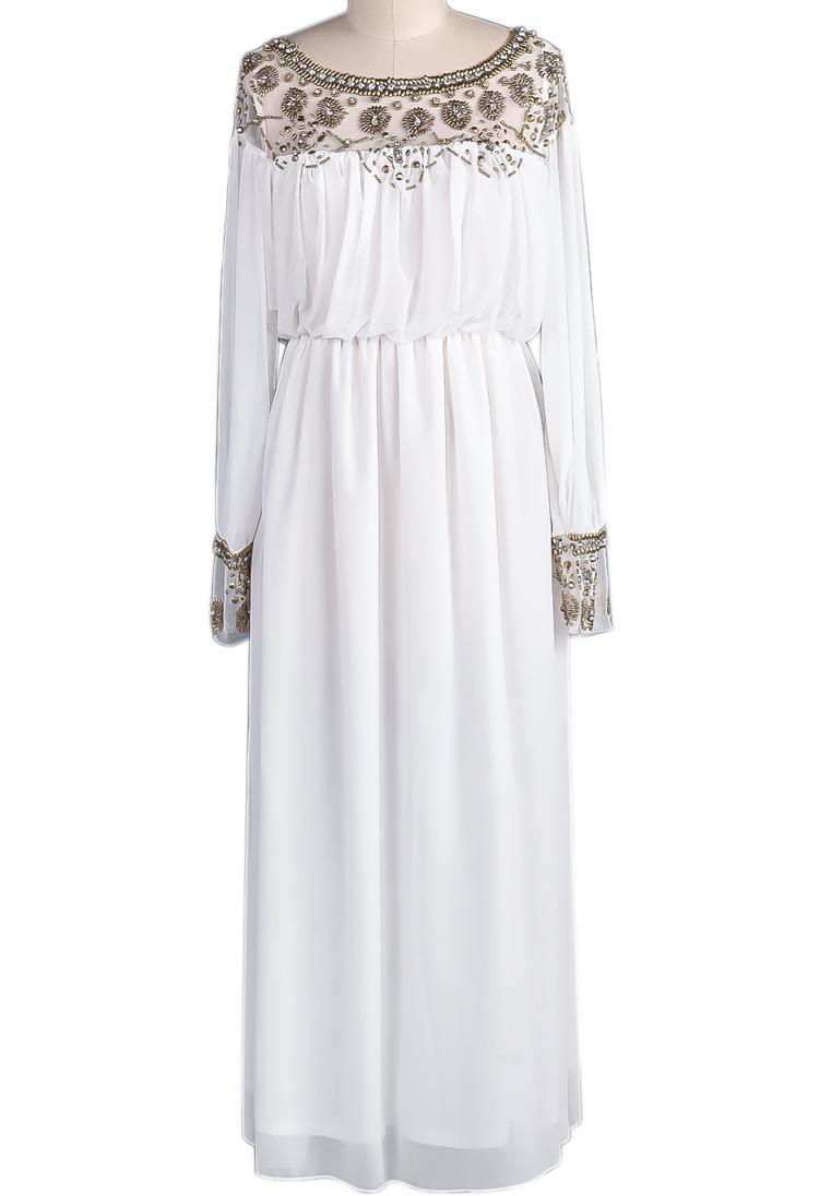 c67a83010dd1 White Long Sleeve Bead Pleated Chiffon Dress - Sheinside.com