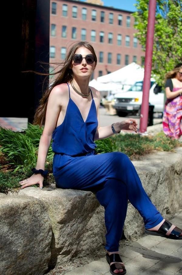 pants jumpsuit blue jumpsuit