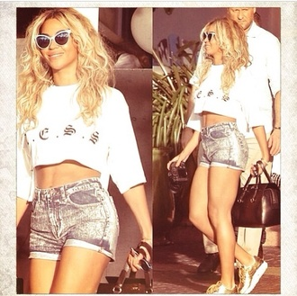 sunglasses beyonce white summer sweater shoes shorts