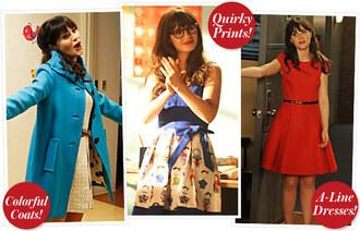 dress zooey deschanel new girl blue coat red dress